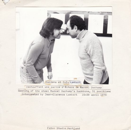 Michel Cardena, 'Cardena et J.C. Lambert rechauffent une partie d'échecs de Marcel Duchamp. Opening of the show: Marcel Duchamp's Backbone, 31 positions interpreted by Jean-Clarence Lambert', 15-28 april 1973 Rozenstraat